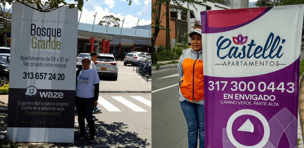 Publicidad en pendones en Colombia